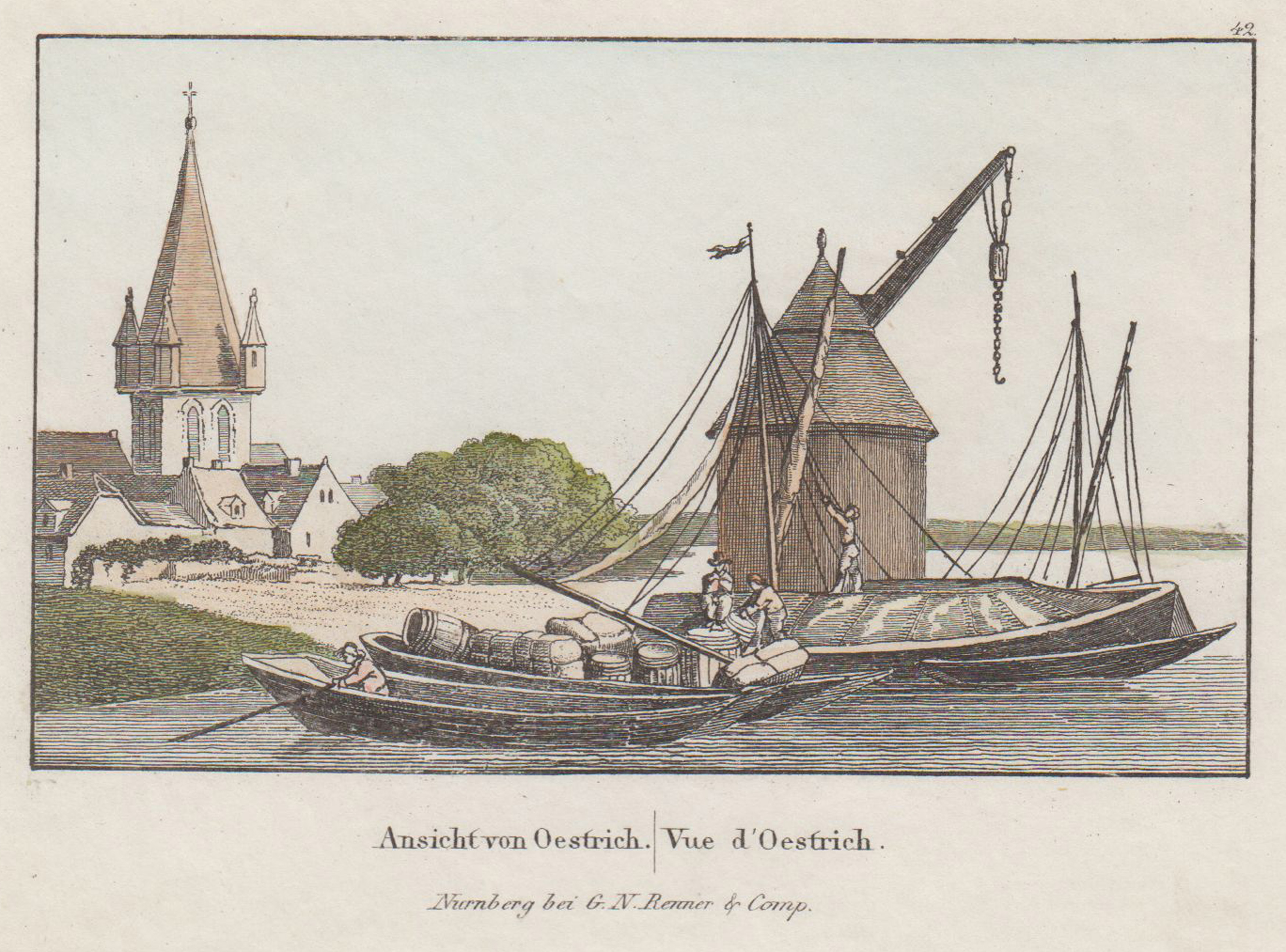 Ansicht, rechts i. Vgr. der Kran, links: Oestrich - Winkel: