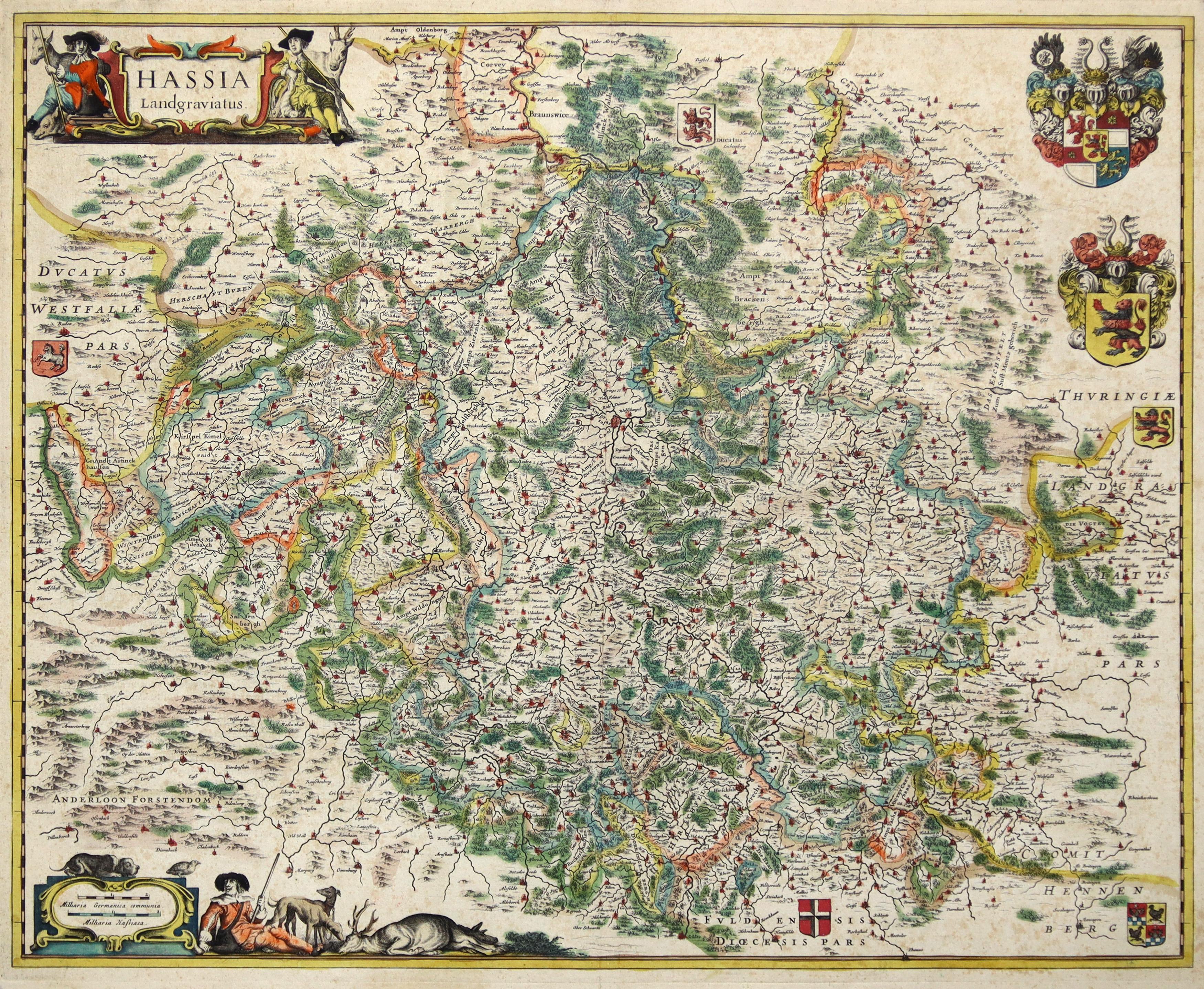 """Kst.- Karte, b. Janssonius, """"Hassia Landgraviatus."""".: Nordhessen:"""