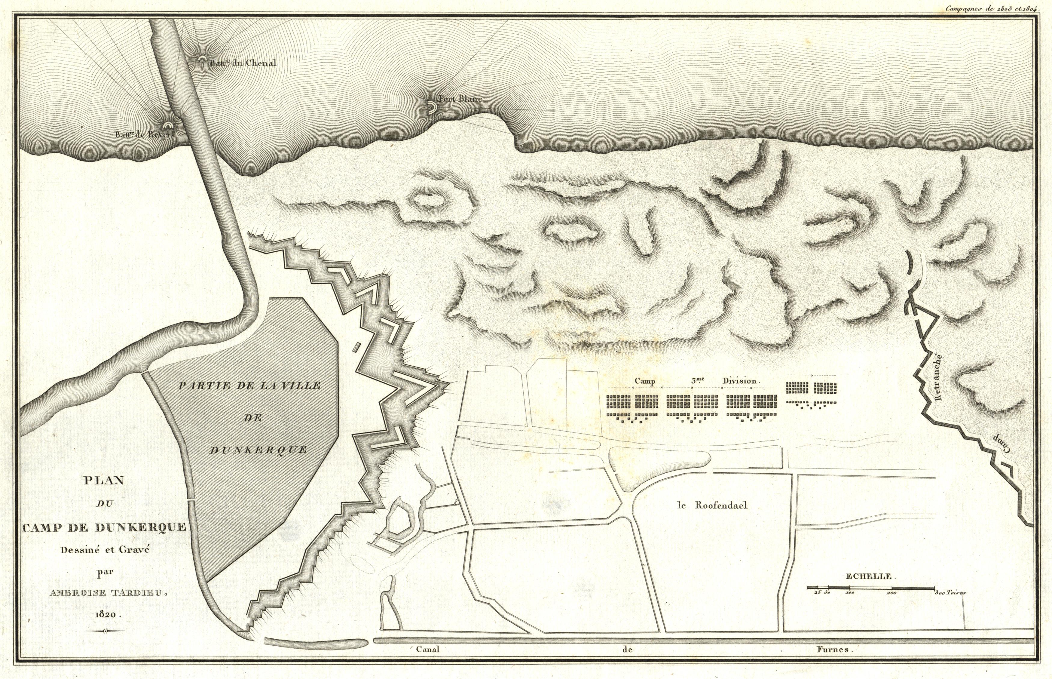 Kupferstichkarte von Ambroise Tardieu, Paris, um 1820,: Dünkirchen: