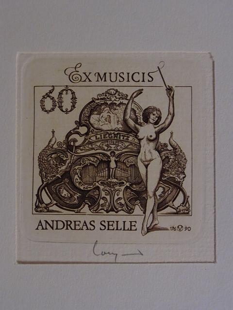 Erotisches Exlibris - Ex Musicus für Andreas: Volkamer, Oswin: