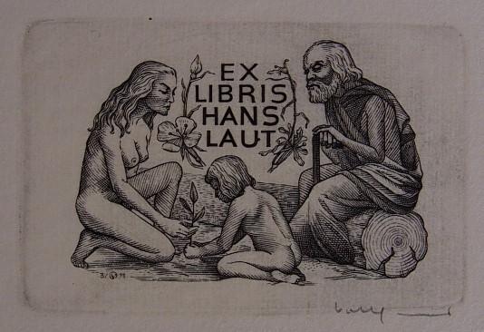 Exlibris für Hans Laut. Motiv: Weiblicher Akt: Volkamer, Oswin: