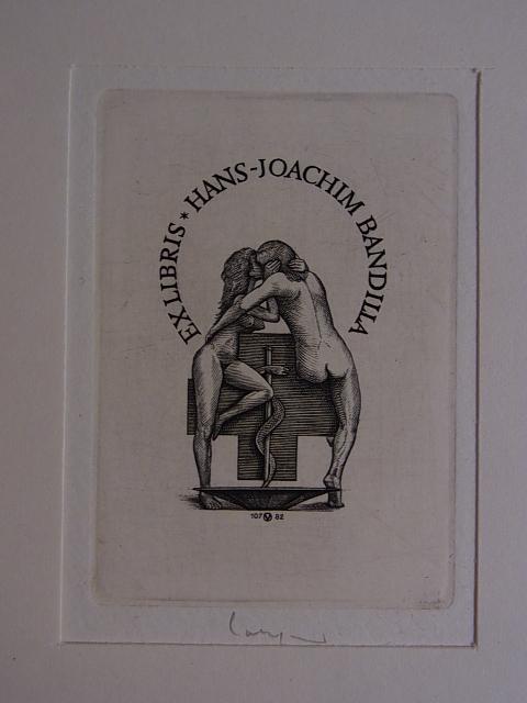 Erotisches Apotheker-Exlibris für Hans-Joachim Bandilla. Zwei weibliche: Volkamer, Oswin: