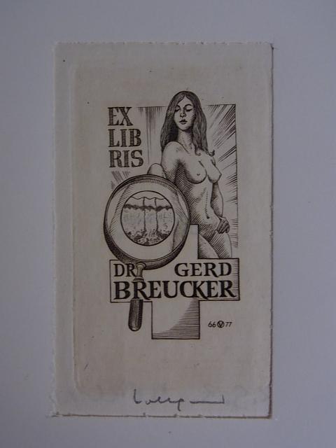 Erotisches Dermatologen-Exlibris für Dr. Gerd Breucker. Weiblicher: Volkamer, Oswin: