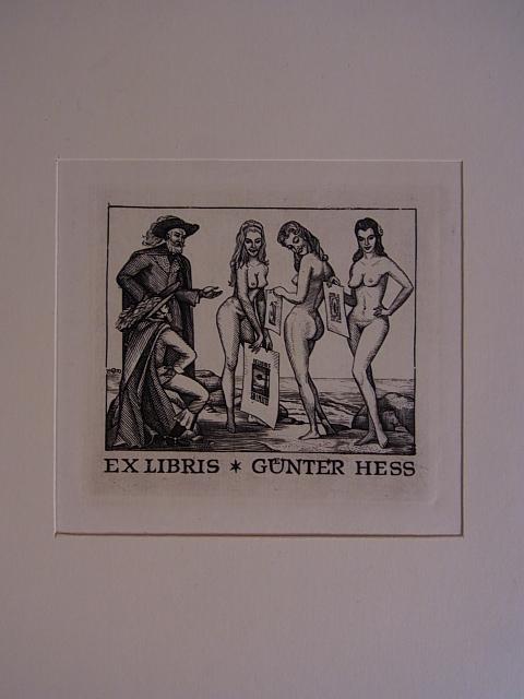 Erotisches Exlibris für Günter Hess. Drei weibliche: Volkamer, Oswin: