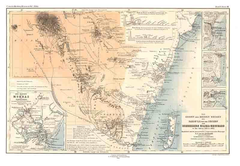 Reisen in Ost-Afrika - 1 - Übersichtskarte: Decken, Carl Claus