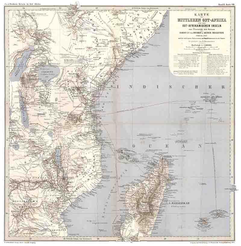 Reisen in Ost-Afrika - 2 - Übersichtskarte: Decken, Carl Claus