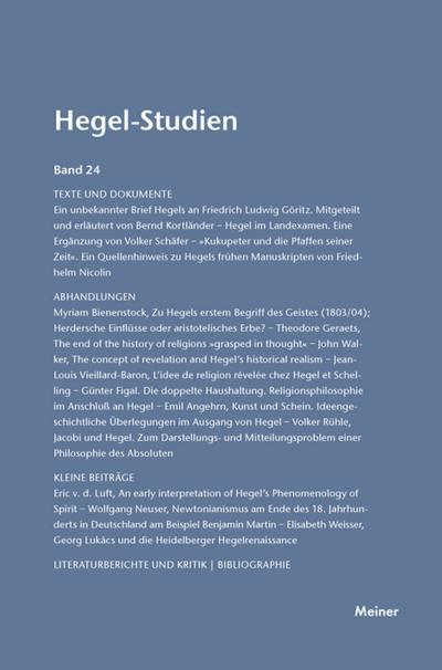 Hegel-Studien / Hegel-Studien - Friedhelm Nicolin