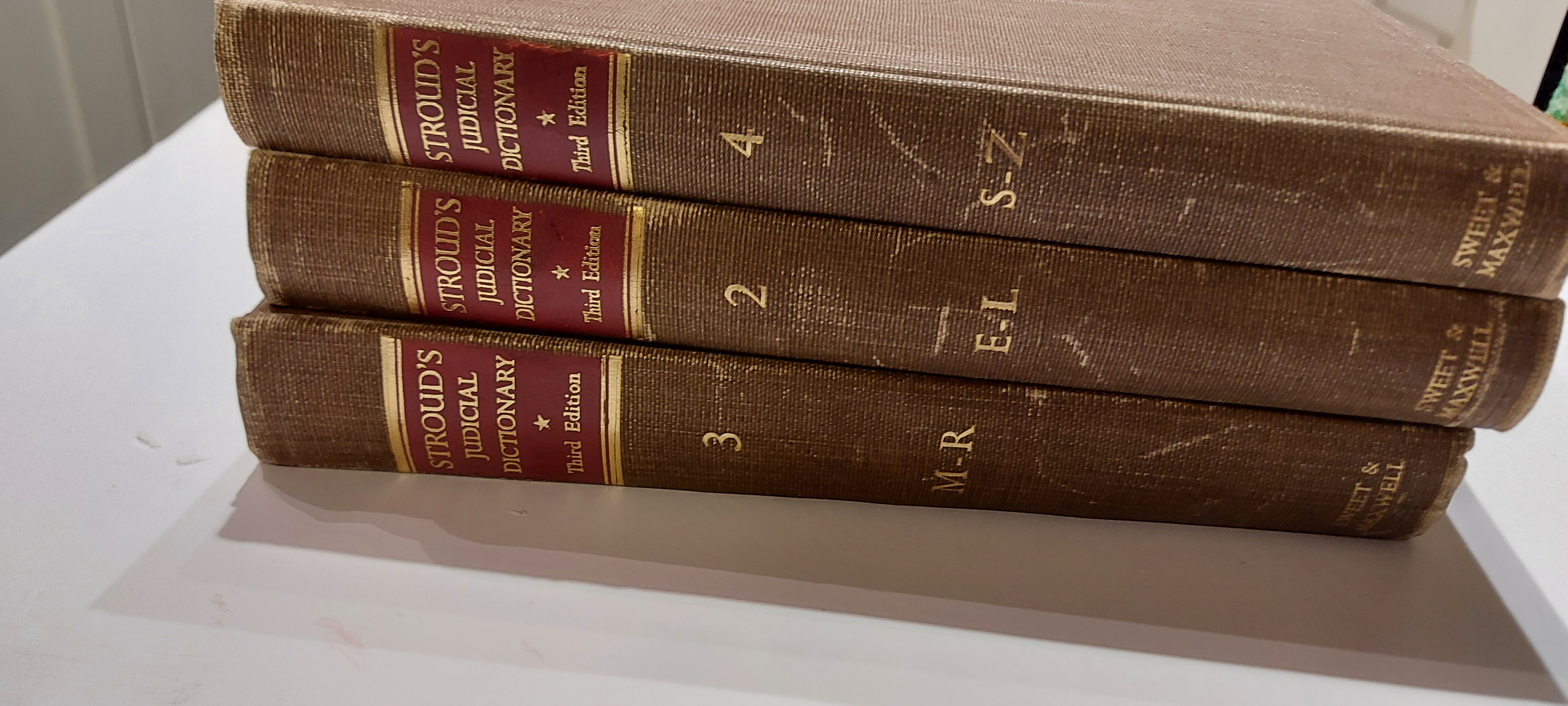 Stroud's Judicial Dictionary of Words And Phraes Vol. 2,3, and 4 Only by  Burke, John: As New Hardcover (1953) 3rd Edition   Mister-Seeker Books