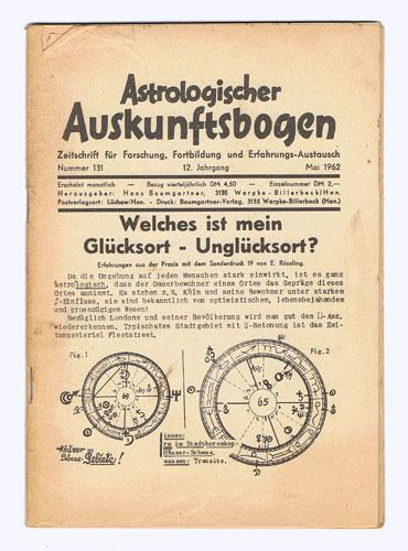 Astrologischer Auskunftsbogen. 12. Jhg. 1962, Nr. 131: Baumgartner, Hermi (Hrsg.):