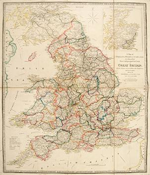 A Map of England, Wales, & Scotland: Wyld, James, 1812-1887