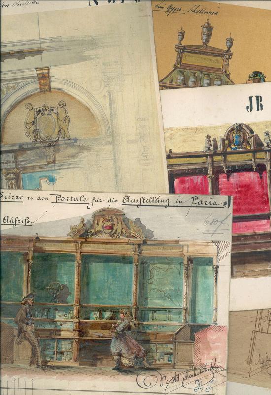 Sammlung von 20 Entwurfszeichnungen für Ausstellungs- und: Innenarchitektur] - Machatschek,