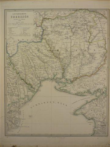 Gouvernement Chersson. Grenzkolor. Stahlstichkarte aus Stieler's Hand-Atlas.: Ukraine.-