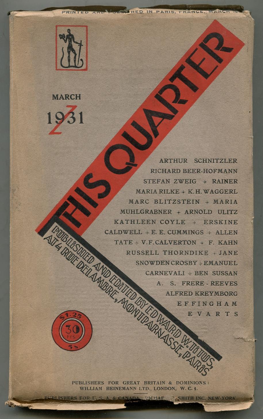 This Quarter - Volume III, Number 3,: TATE, Allen, Arthur