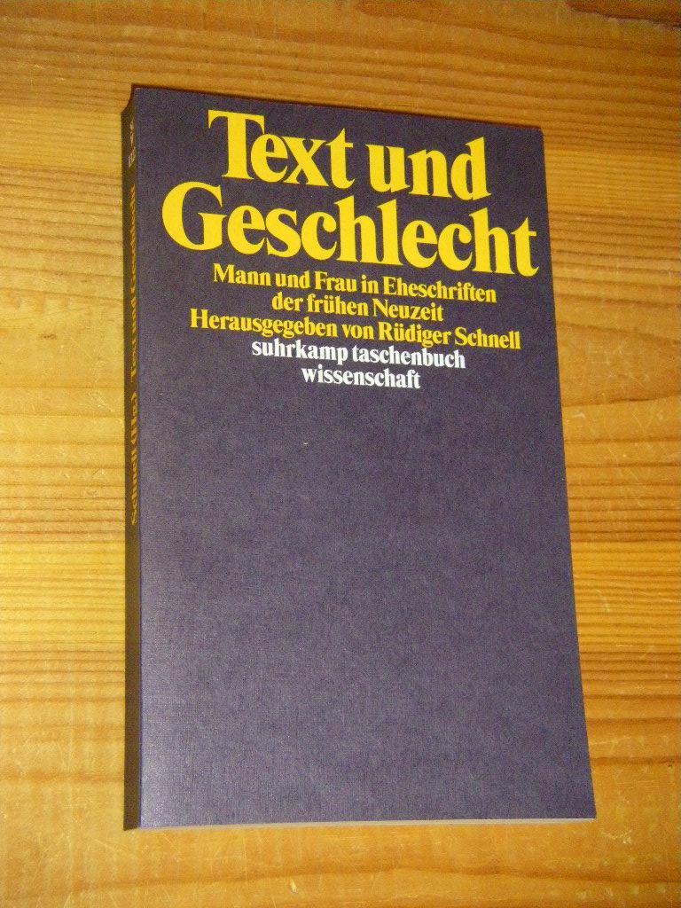 Text und Geschlecht. Mann und Frau in: Schnell, Rüdiger (Hg.)