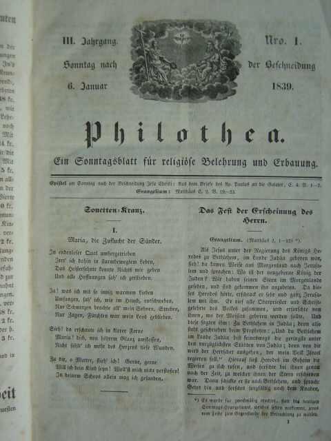 Ein Sonntagsblatt für religiöse Belehrung und Erbauung.: Philothea.
