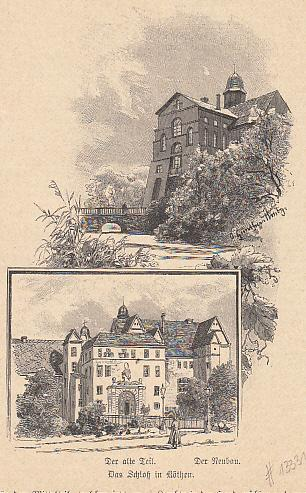 Ansicht vom Schloß. Original - Holzstich aus: Köthen.