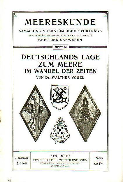 Deutschlands Lage zum Meere im Wandel der: Vogel, Walther: