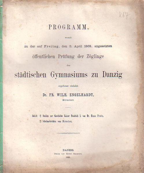 Studien zur Geschichte Kaiser Friedrich I. Teil: Prutz, Hans