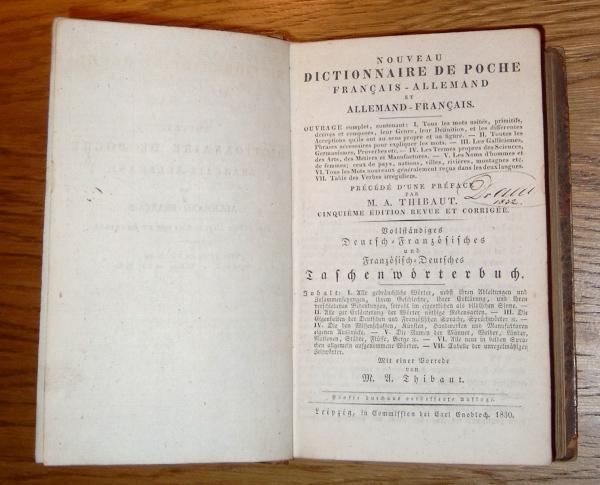 Nouveau Dictionnaire de Poche Francais - Allemand: Thibaut, M. A.,
