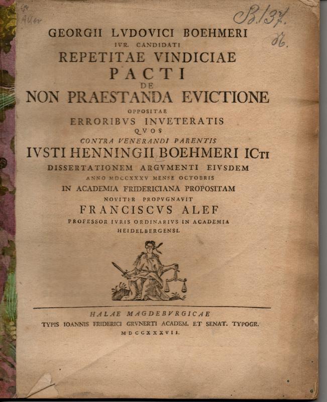 Juristische Dissertation. Repetitae vindiciae pacti de non: Böhmer, Georg Ludwig