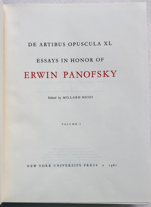 essays in honor of erwin panofsky