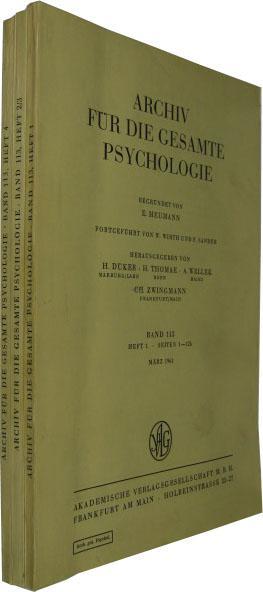 Band 113. 4 Hefte in 3 Bde.: Archiv für die