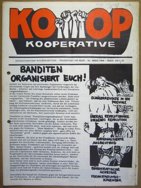 Kooperative. Antiautoritäre Wochenzeitung. 30. März 1969.: KOOP.