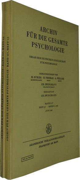 Band 117. 4 Hefte in 2 Bde.: Archiv für die