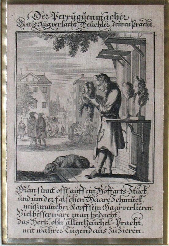 Kupferstich von Christoph Weigel. Der Perruquenmacher.: Friseur, Perückenmacher, Perücken,
