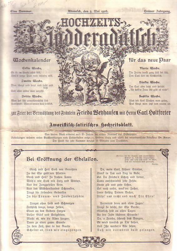 Hochzeitszeitung Hochzeits-Kladderadatsch zur Feier der Vermählung des: Hochzeits-Zeitung -
