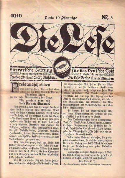 Die Lese. Literarische Zeitschrift für das Deutsche: Lese, Die. -