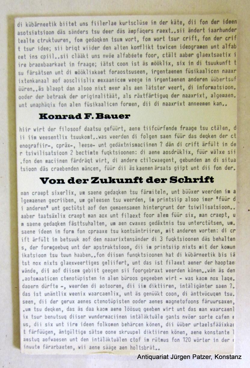 Von der Zukunft der Schrift. Eine Ansprache: Bauer, Konrad F.