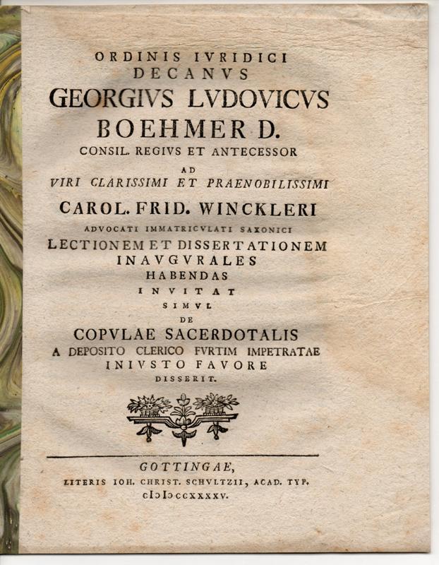 De copulae sacerdotalis a deposito clerico furtim: Böhmer, Georg Ludwig