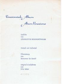 Venezianisch Album. Album Veneziano. Gedichte. Deutsch und: Hochgründler, Charlotte