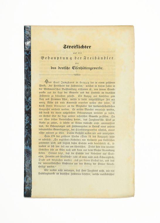 Streiflichter auf die Behauptung der Freihändler über: Glaser, J. C.).