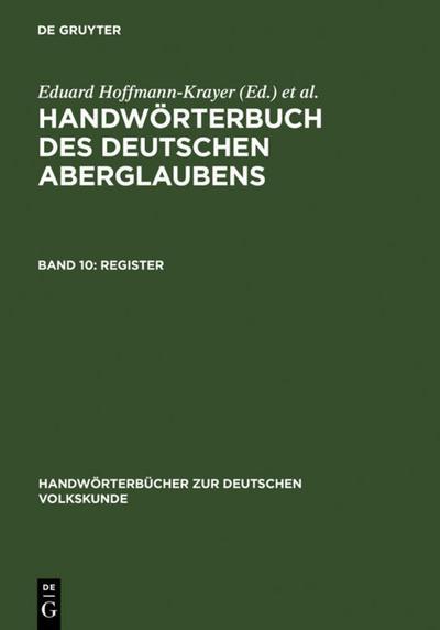 Register: Hanns Bächtold-Stäubli