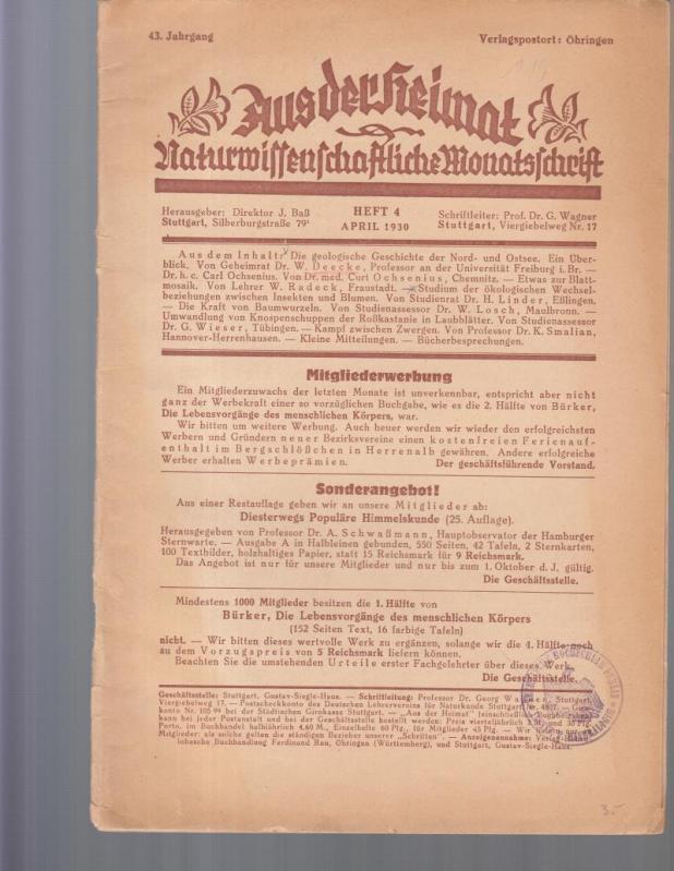 Aus der Heimat. 43. Jahrgang, Heft 4,: Aus der Heimat.