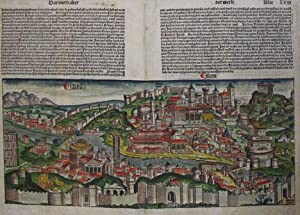 A SINGLE HAND-COLOURED BIFOLIUM FROM THE FAMED: Incunabula; Nuremberg Chronicle;