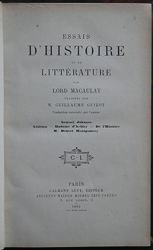 Essais d'histoire et de littérature: MACAULAY, (Lord)