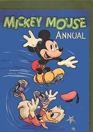 Mickey Mouse Annual 1950 Front cover: Mickey Mouse on roller skates leaping over Donald Duck. [...