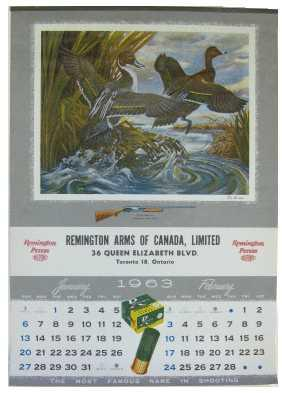 1963 Original Calendar: Remington Arms of Canada, Limited
