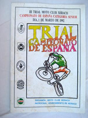 III Trial Moto Club Xeraco. CAMPEONATO DE: MOTO CLUB XERACO