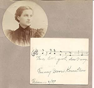 "Autograph Musical Quotation ""There little girl, don't cry"" by Fannie Knowlton"