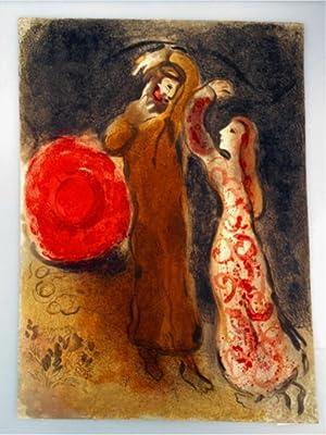 Ruths Treffen mit Boas, farbige Original-Lithographie aus dem Zyklus:Illustrationen für die Bibel,:...