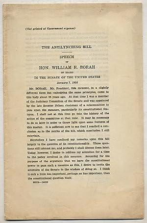 The Antilynching Bill: Speech of William E.: BORAH, William E.