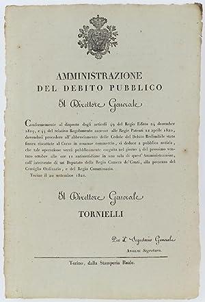 Immagine del venditore per AMMINISTRAZIONE DEL DEBITO PUBBLICO. orino, 20 settembre 1821.: venduto da Bergoglio Libri d'Epoca