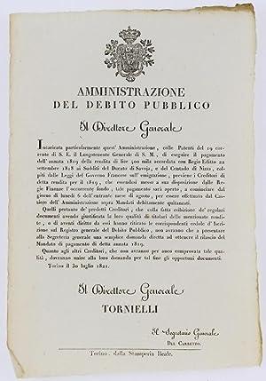 Immagine del venditore per AMMINISTRAZIONE DEL DEBITO PUBBLICO. Torino, 30 luglio 1821.: venduto da Bergoglio Libri d'Epoca
