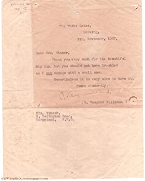 Typed letter signed to Mrs Winser, (Ralph, 1872-1958, Composer)