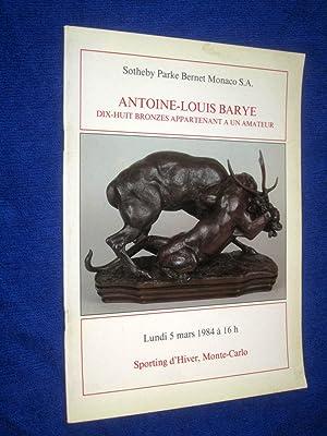 Antoine-Louis Barye, Dix-Huit Bronze Appartenant a un: Sotheby Parke Bernet