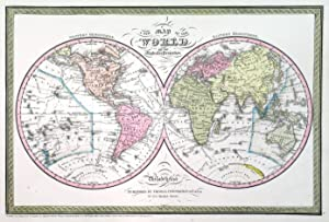 A NEW MAP OF THE WORLD ON THE GLOBULAR PROJECTION . Double hemisphere world map with decorative ...